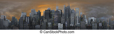 skyline dusk 3 - 3d render of a skyline at dusk
