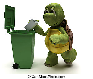 Tortoise with a trash can - 3D Render of a Tortoise with a...