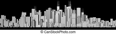 skyline black and white - 3d render of a skyline in black...