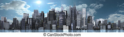 skyline bright - 3d render of a bright skyline