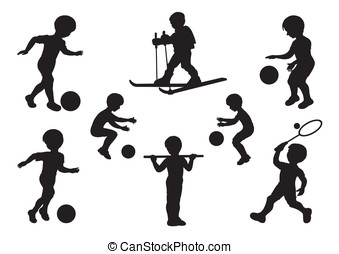 Silhouettes of children engaged in sports exercises