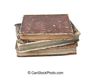 Antique books isolated - Old books with wear and tear...