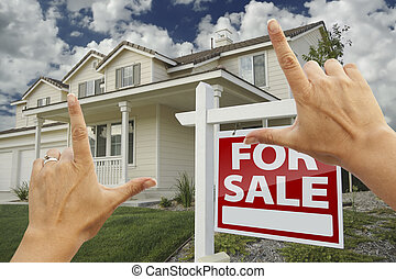 Hands Framing For Sale Real Estate Sign and New House -...