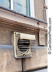 Old Gas Heater - Exhaust chimney of an old gas heater in a...