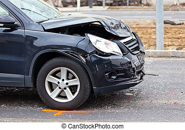 Fender-bender in car crash - A body damage after a car...