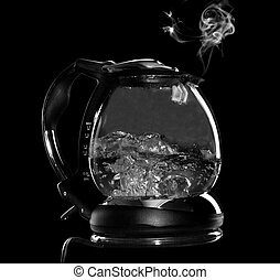 Kettle with boiling water and steam isolated with clipping...