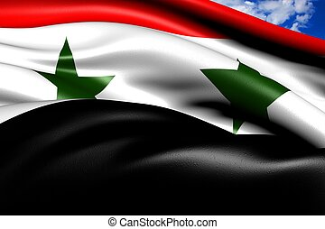 Flag of Syria against cloudy sky. Close up.