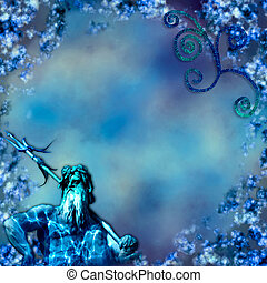 Undersea God - Underwater background with the God Poseidon...