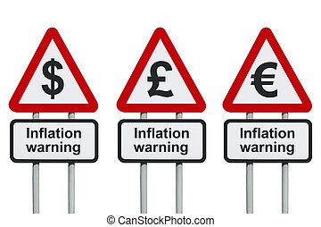 Inflation warning sign - Inflation warning road sign with...