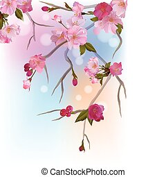 Background with sakura branch