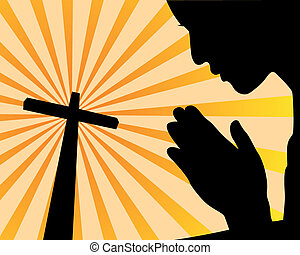 praying before the cross on an orange background