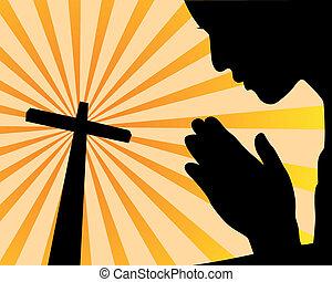 modlący się, przed, krzyż