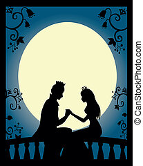 prince and princess - silhouette of prince and princess on a...