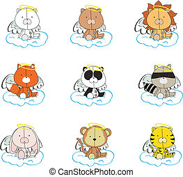 animals angel cartoon set 001 - animals angel cartoon set in...
