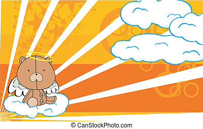 teddy  angel cartoon background  in vector fromat