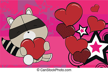 raccoon valentine plush background   in vector format