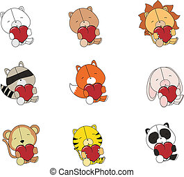 valentine plush animals set   in vector format