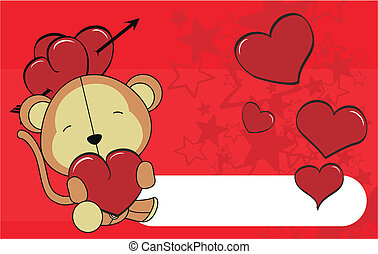 monkey valentine plush background  in vector format