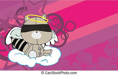 raccoon angel cartoon wallpaper in vector format