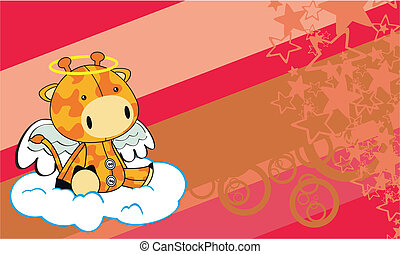 giraffe angel cartoon background in vector format