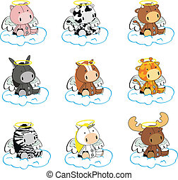 animals angel cartoon set 01