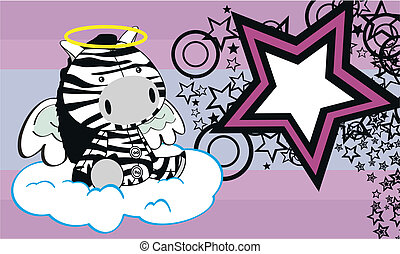 zebra angel cartoon background in vector fromat