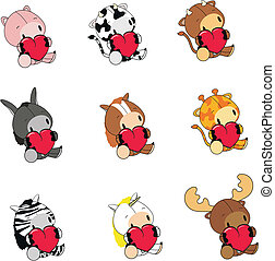 animals cartoon valentine set01 - animals cartoon valentine...