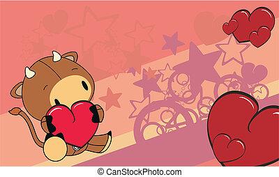 caricatura, toro,  4, Plano de fondo,  Valentine