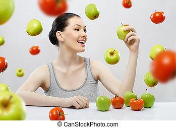 saudável, alimento, comer