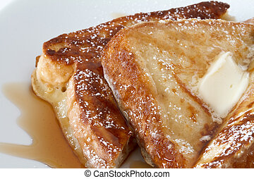 french toast with butter and corn syrup