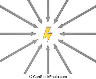 flash - arrows around flash symbol - 3d illustration