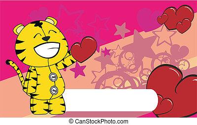 tiger  valentine cartoon background