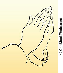 praying hands on a yellow background