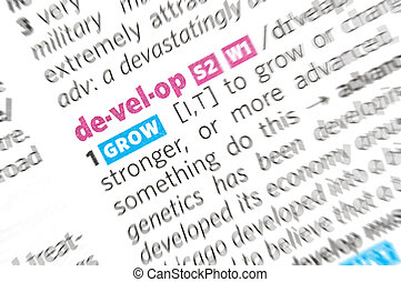 Develop word close up in dictionary