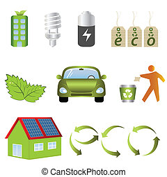 Eco related icons - Eco and environment related items