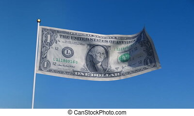 flag banknote USA - Banner with US dollar banknote on blue...