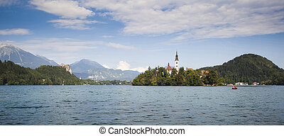 Panorama of Bled Lake in Slovenia - Panorama of Bled Lake -...
