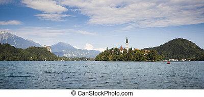 Panorama of Bled Lake in Slovenia - Panorama of Bled Lake -...