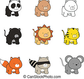 baby animals cartoon 1a - baby animals cartoon in vector...