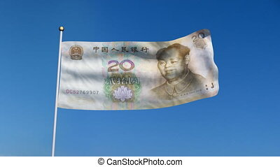 flag banknote china - Banner with China yuan banknote on...