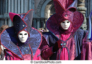 Mask at Venice carnival,Italy, 2011.The annual carnival was...