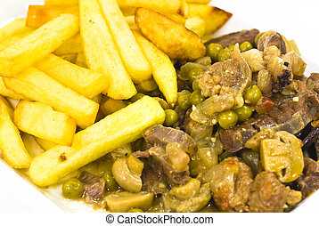 beef with fried potatoes