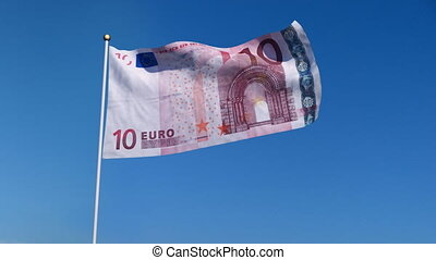flag banknote euro - Banner with Euro banknote on blue sky...