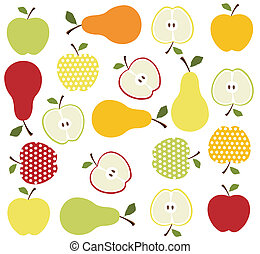 fruits, apples and pears background