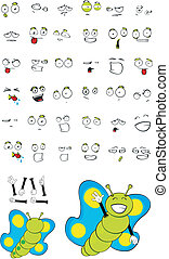 butterfly cartoon set