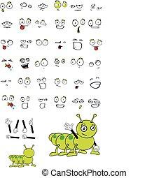 caterpillar cartoon set