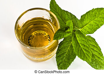 whiskey shot and mint