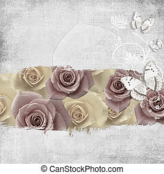 retro background with stamp-frame, flowers and butterfly -...