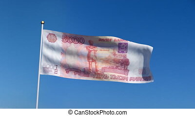 flag banknote russia - Banner with Russia ruble banknote on...