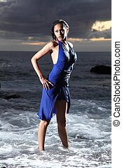 Sexy sea goddess in blue dress - Sexy young fashion model...
